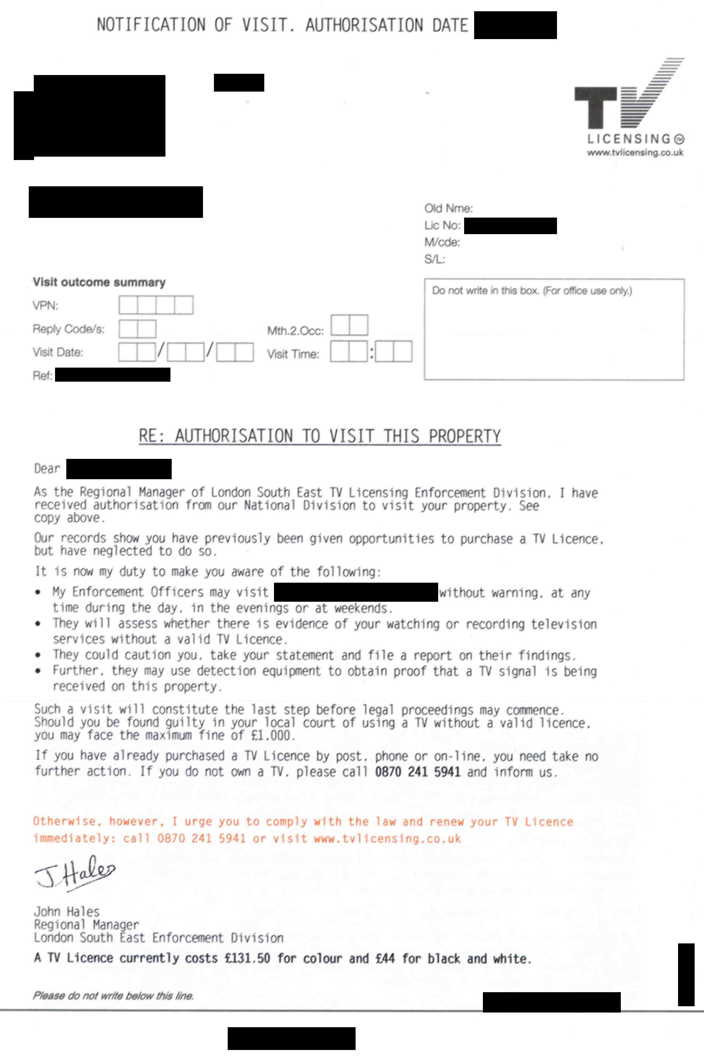 Letters from bbc television licensing2006 television licensing visit letter thecheapjerseys Gallery