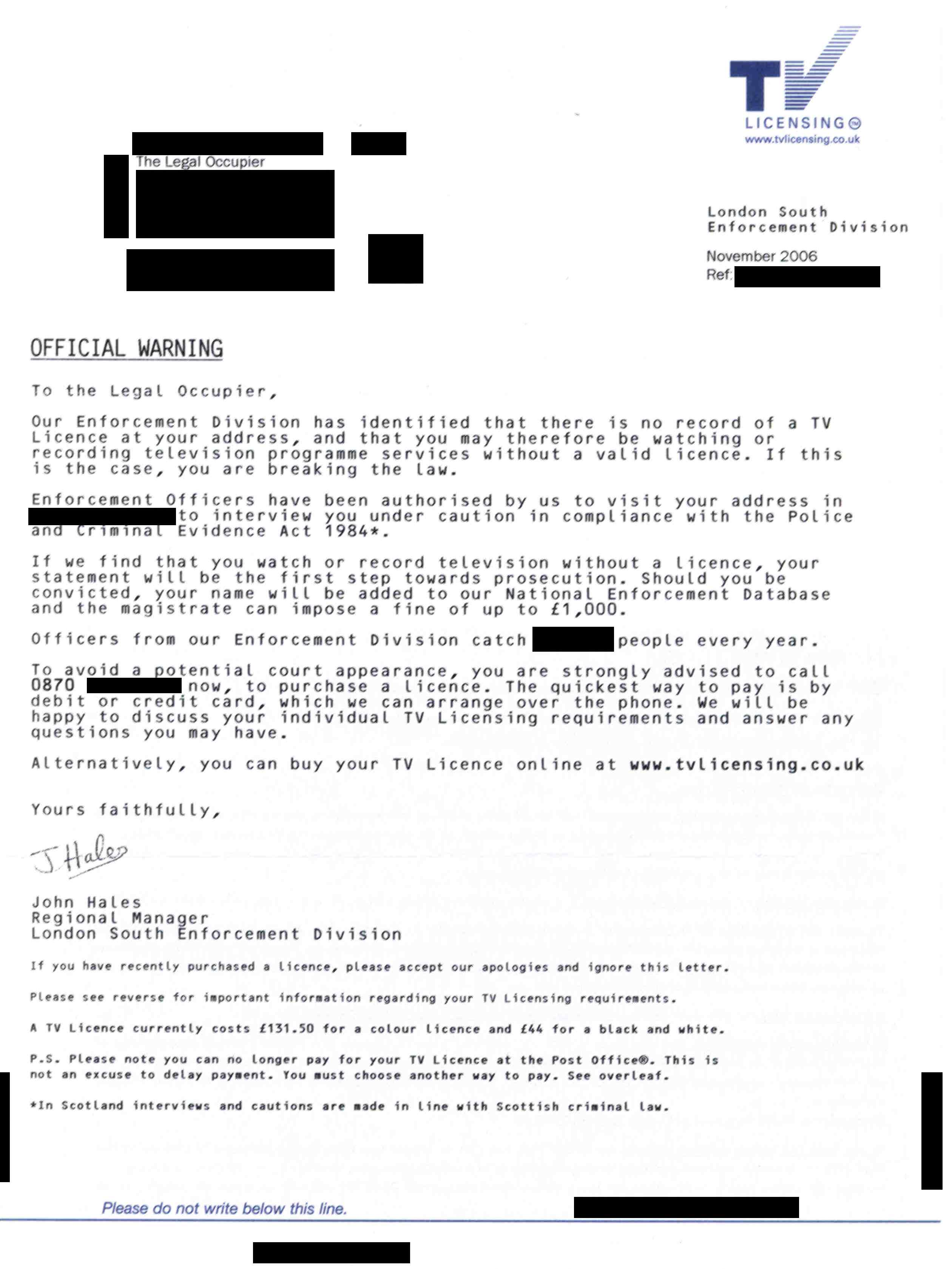 TV Licence official warning letter