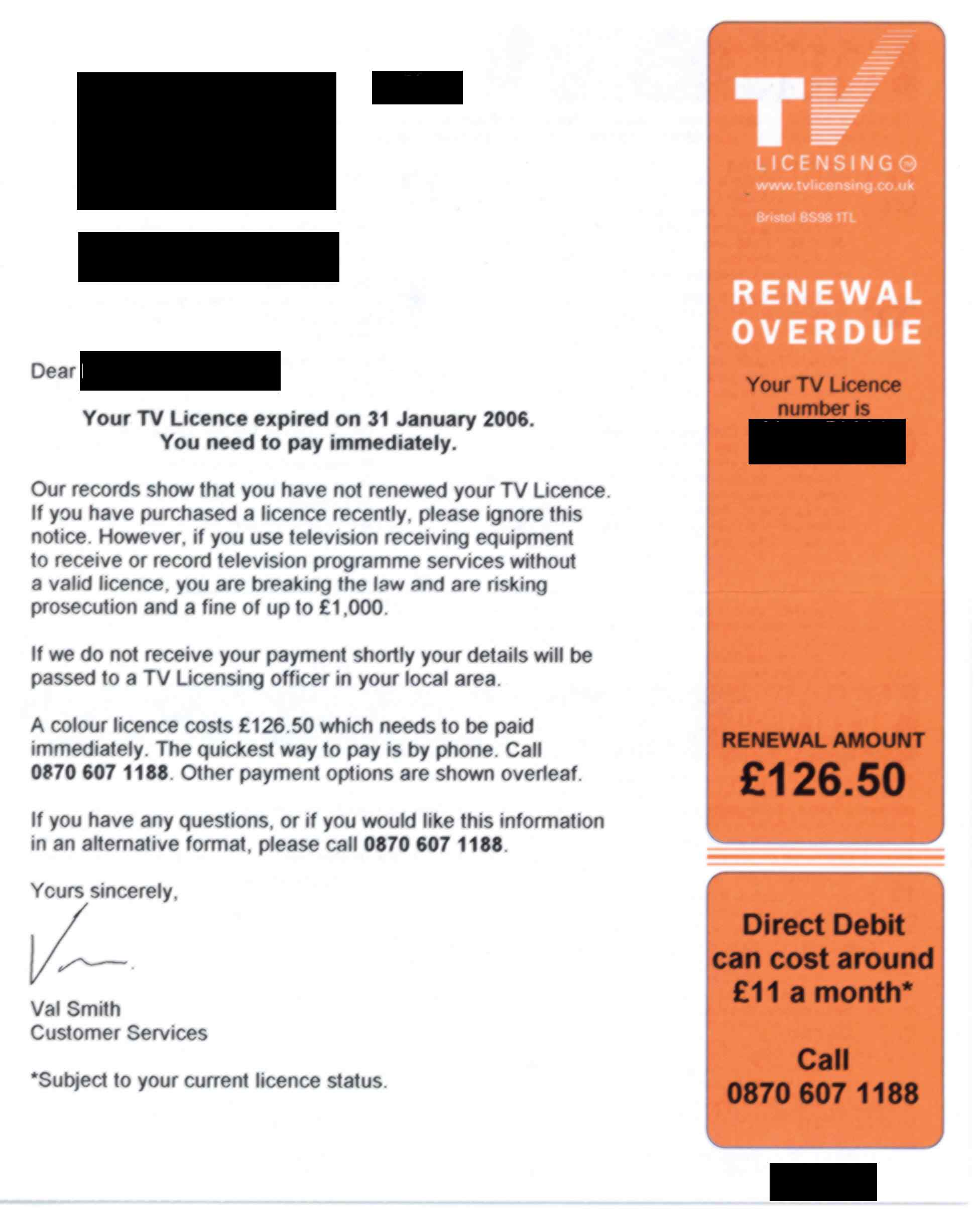 TV Licensing overdue letter