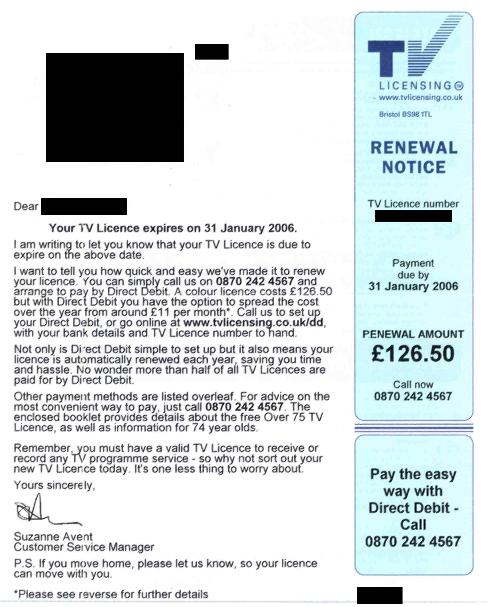 TV Licence renewal letter
